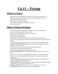 MGMA01H3 Study Guide - Midterm Guide: Fixed Cost, Marketing Mix, Psychological Pricing
