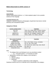 LIN100Y1 Study Guide - Midterm Guide: Adverbial Phrase, Part Of Speech, Complementizer