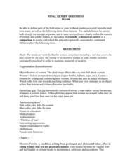 WS100 Study Guide - Final Guide: Gender Pay Gap, Lesbian Feminism, Female Genital Mutilation