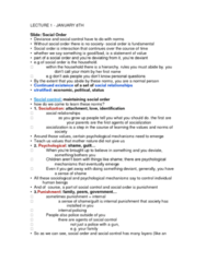 SOC211H5 Lecture Notes - Lecture 1: Social Control, Social Order, Social Stratification