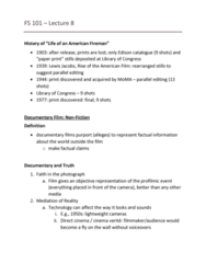 FS101 Lecture Notes - Lecture 8: Diegesis, Dont Look Back, Asif Kapadia