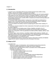 HSAD 310 Chapter Notes - Chapter 10: Long-Term Care, Food Policy, Family Caregivers
