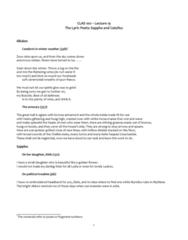 CLAS100 Lecture Notes - Lecture 94: John Hyrcanus, Lesbia, Evil Eye
