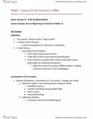 FS101 Lecture Notes - Lecture 9: Modern Animation In The United States, Filmophile, Art Film