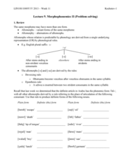 LIN100Y1 Lecture Notes - Lecture 9: Reduplication, English Plurals, Palatal Nasal