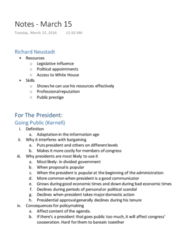 CAS PO 141 Lecture Notes - Lecture 15: Richard Neustadt, Bully Pulpit, Divided Government