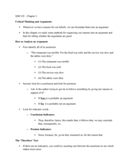 SSH105 Lecture 3: Critical Thinking Chapter 3 Notes