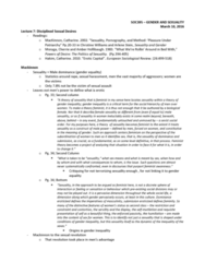 SOC395H1 Lecture Notes - Lecture 7: Amber L. Hollibaugh, Catherine Hakim, Feminist Theory