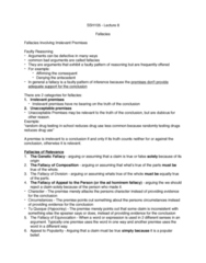 SSH 105 Lecture Notes - Lecture 8: Ad Hominem, Fallacy, Begging