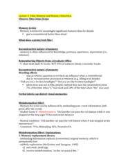 PSYC 3265 Lecture Notes - Lecture 9: Hypersexuality, Prosopagnosia, Semantic Similarity