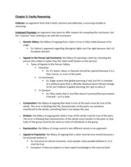 SSH 105 Chapter Notes - Chapter 5: Begging, False Dilemma, Genetic Fallacy