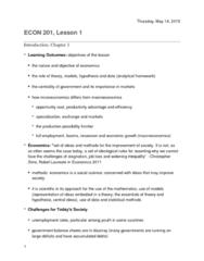 ECON 201 Lecture Notes - Lecture 1: Demand Curve, Economic Equilibrium, Efficient-Market Hypothesis