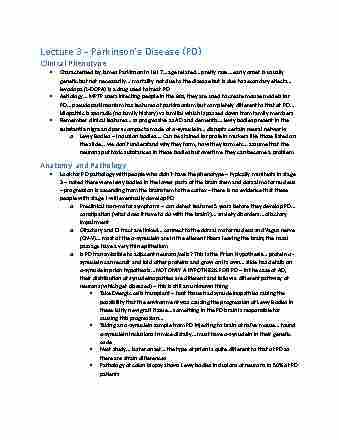 lmp410h1-lecture-3-lecture-3-parkinson-s-disease