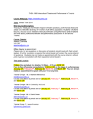 THEA 1900 Lecture Notes - Lecture 10: Guillermo Verdecchia, Obsidian Theatre, Theatre Journal