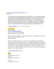 THEA 1900 Lecture Notes - Lecture 5: Tarragon Theatre, Nightwood Theatre, Yanna Mcintosh