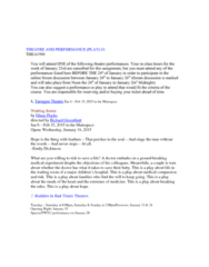 THEA 1900 Lecture Notes - Lecture 6: Oh, What A Lovely War!, Tarragon Theatre, Diane Flacks