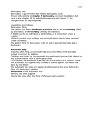 MGMT 108 Study Guide - Final Guide: Unsecured Creditor, Automatic Stay, Chapter 7, Title 11, United States Code