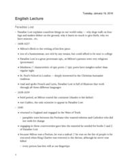 English 1022E Lecture 12: Paradise Lost