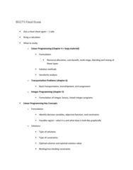 BU275 Lecture Notes - Lecture 24: Feasible Region, Linear Programming, Sensitivity Analysis