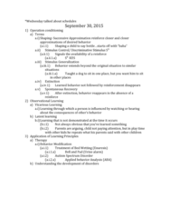 PSY 1410 Lecture Notes - Lecture 14: Wetting, Enuresis, Latent Learning