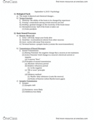 PSY 1410 Lecture Notes - Lecture 4: Action Potential, Myelin, Alive Ii