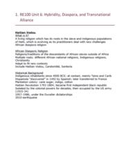 RE100 Lecture Notes - Lecture 6: Haitian Diaspora, Italian Diaspora, African Diaspora