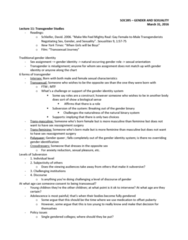 SOC395H1 Lecture Notes - Lecture 9: Transfeminine, Sex Assignment, Transmasculine