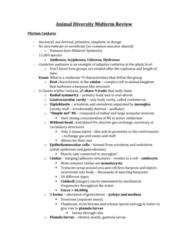 Biology 3229F/G Midterm: Animal-Diversity-Midterm-Review