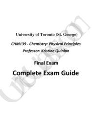 CHM139H1 Final: Complete and Comprehensive 70-Page Final Exam Study Guide - Winter 2016