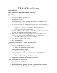 Women's Studies 1020E Study Guide - Final Guide: Oxbridge, Gender Binary, Operation Soap