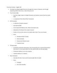 ENGL 260 Study Guide - Final Guide: Geneva Bible, Bishops' Bible, Catholic Bible