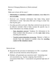 PSYC 102 Lecture Notes - Lecture 9: Encoding Specificity Principle, Elizabeth Loftus, Procedural Memory
