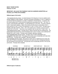 MUS 160 Lecture Notes - Lecture 3: Nonchord Tone, Baud, Minor Chord