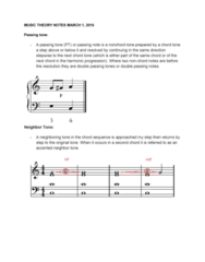 MUS 160 Lecture Notes - Lecture 6: Nonchord Tone