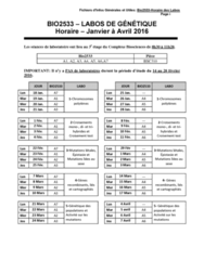 BIO2533 Lecture 9: Bio2533-Horaire des Labos-2016