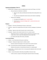 BIOL 2030 Final: Animals Notes