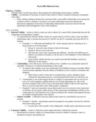 Psychology 2800E Study Guide - Midterm Guide: Statistical Conclusion Validity, Construct Validity, Statistical Inference