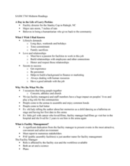 SASM 3760 Study Guide - Midterm Guide: Upselling, Seating Capacity, Facility Management
