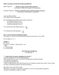 LIFE 121 Lecture Notes - Lecture 4: Allele Frequency, Allele, Null Hypothesis