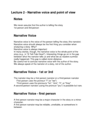 ENG1100 Lecture 2: Lecture 2 - Narrative voice and point of view