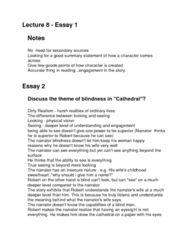 ENG1100 Lecture 8: Lecture 8 - Essay 1