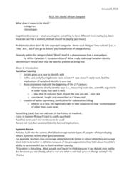 REL 399 Lecture Notes - Lecture 1: White Supremacy, Cognitive Dissonance, African Diaspora