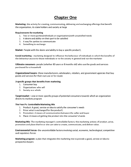 COMMERCE 2MA3 Chapter 1: Chapter One Marketing
