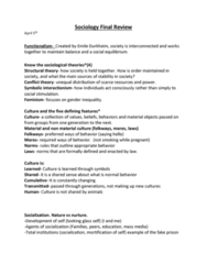 SOC 112 Study Guide - Final Guide: Symbolic Interactionism, Conflict Theories, Racialization
