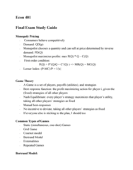 ECON 401 Study Guide - Final Guide: Bertrand Competition, Nash Equilibrium, Best Response