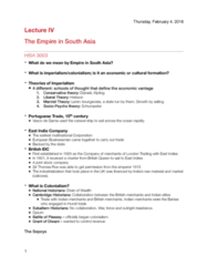 HISA 3003 Lecture 4: The Empire in South Asia (Continued)