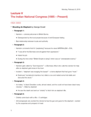 HISA 3003 Lecture 5: The Indian National Congress (1885 – Present)
