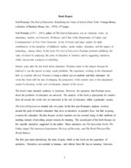 ENGL 212 Chapter Notes - Chapter 1-9: Neil Postman, Media Studies, Consumerism