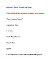International Business INB345 Lecture Notes - Lecture 1: Orient Overseas Container Line, Panamax, Lighter Aboard Ship