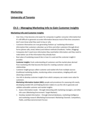 MGMA01H3 Study Guide - Final Guide: Customer Insight, Customer Service, Psychographic